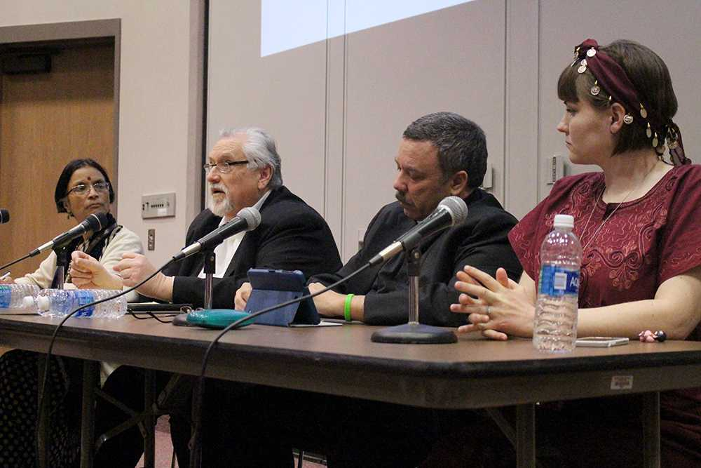 Believers of four different world religions: Dr. Meena Dalal, a follower of Hindu; Gary Weddel, a follower of Baha'i; Pastor Douglas Dill, a Lutheran pastor; and Bronwyn Zitka, a follower of Wicca, discussed their faith with the campus community on March 14.