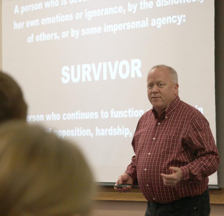 Michael Carnes kicked off Sexual Assault Awareness month Monday.
