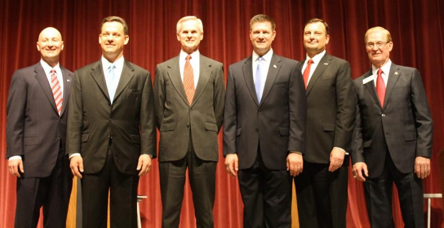 The six Republican gubernatorial candidates )from the left: Pete Ricketts, Jon Bruning, Mike Foley, Beau McCoy, Bryan Slone and Tom Carlson) had the second of three debates last Wednesday night at the Johnny Carson Theatre in Norfolk, Neb.