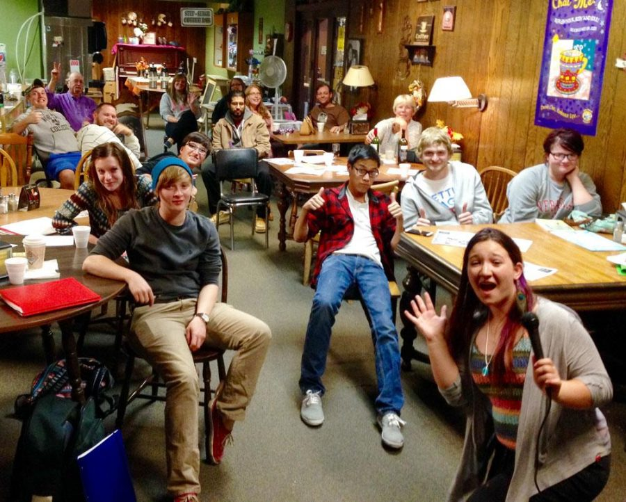 Students filled the Coffee Shoppe on Main for the Judas Goat open mic night on Wednesday, Oct. 8.