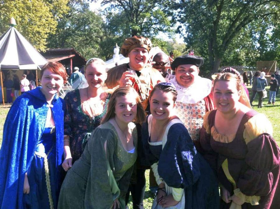 A section of the Madrigal Singers stopped for a moment during the Renessaince Fair in Sioux City earlier this semester.