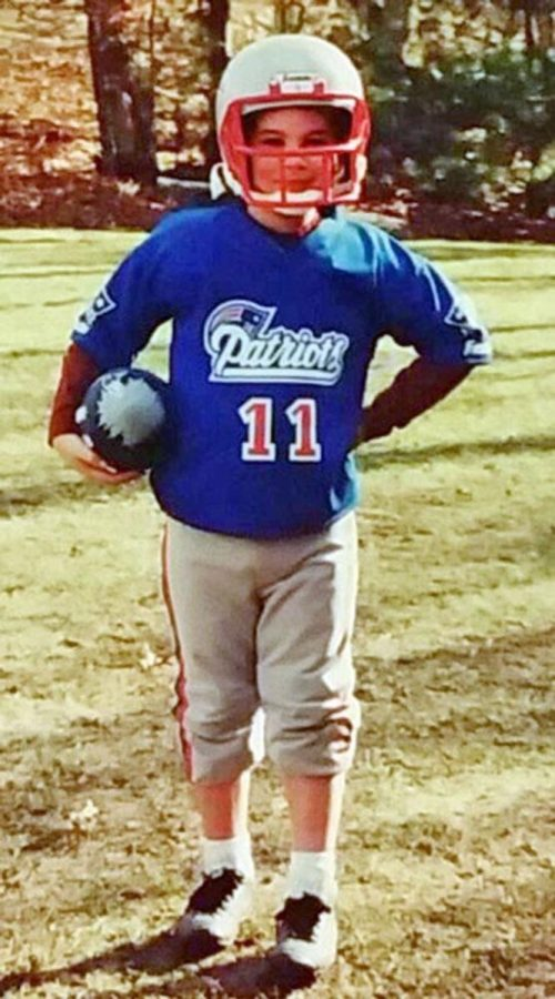 Connor Ryan ready for his first Patriots game in December 1999.