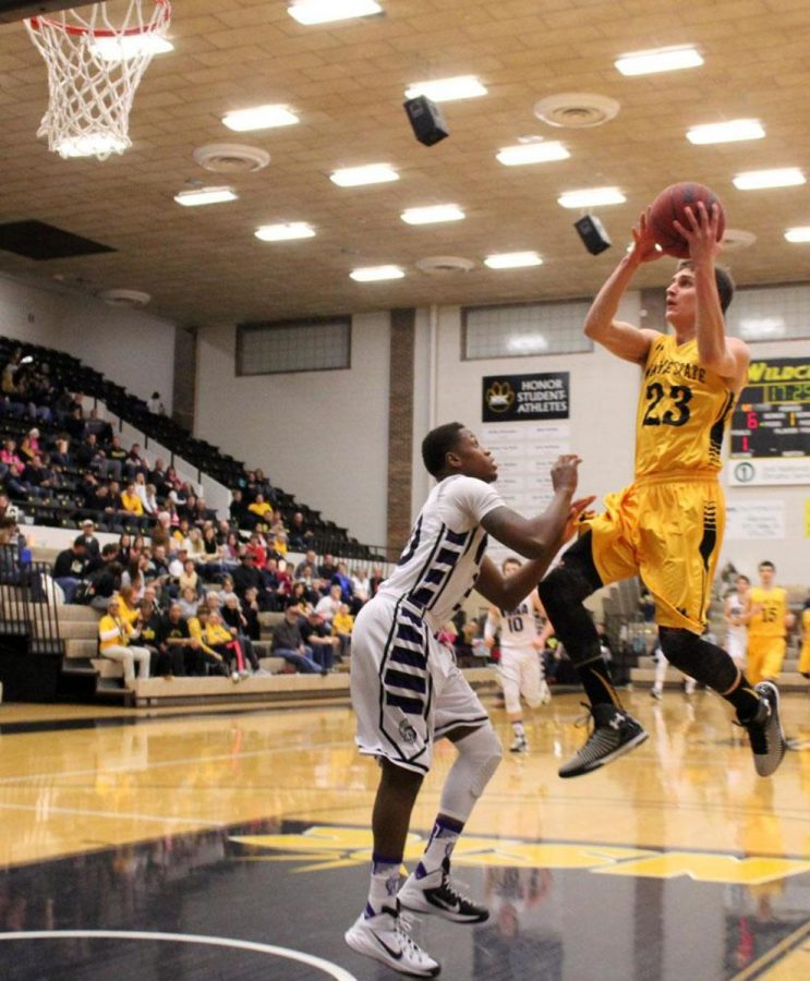 Joel Heesch takes flight for a layup in Saturday's win over Winona State.