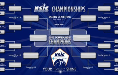The complete bracket on the women's side for the 16-team NSIC/Sanford Health women's basketball tournament.