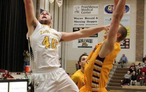 Patrick Kurth puts up a layup in Wayne State's 85-61 loss to Northern State.