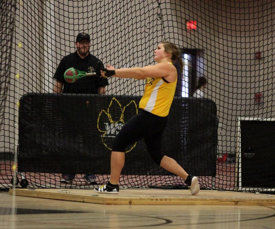 """Michaela Dendinger recorded a toss of 52' 2 ¾"""" to place second in the weight throw and record an NCAA Provisional Mark."""