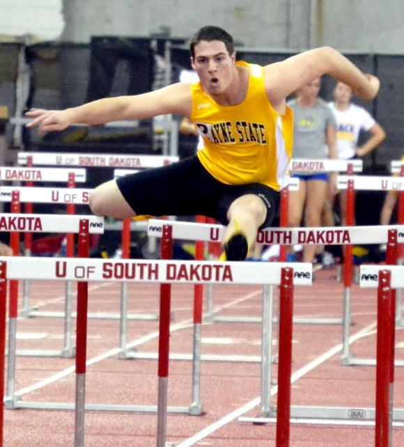 Nathan Lechtenberg finishes the 60 meter hurdles in a time of 8.77 seconds.