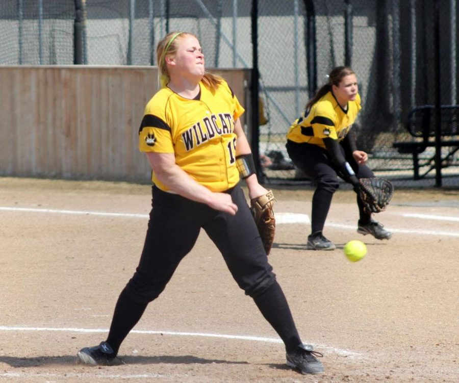 Kelcie Bormann fires a pitch during a game last season. Bormann currently boasts a 2.92 ERA as one of the starting pitchers for the Wildcats.