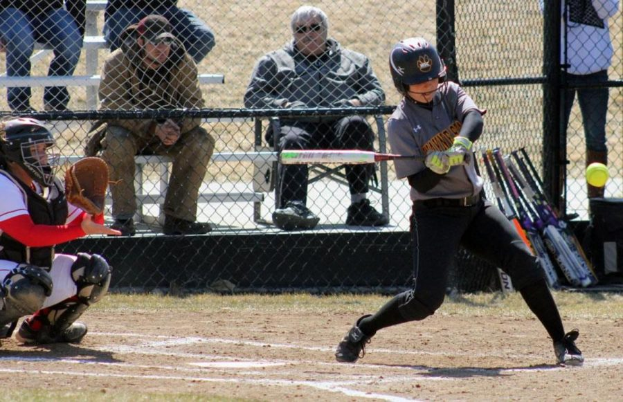 Alyssa Schropp takes a swing for contact in last Saturday's doubleheader with Minot State.
