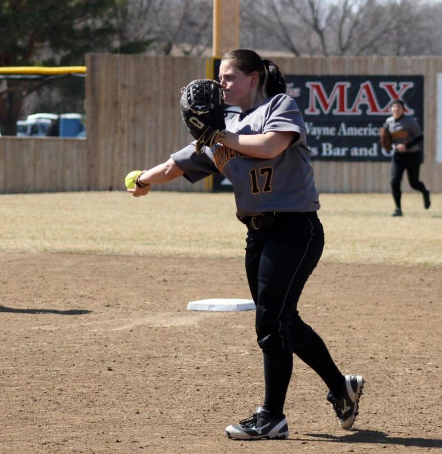 Second baseman Jordan King fields a ground ball and throws to first for an out in last Saturday's sweep of Minot State