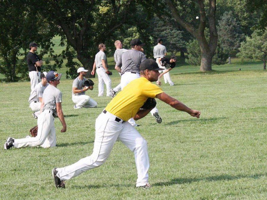 Baseball warming up behind the Pete Chapman complex before practice last week.