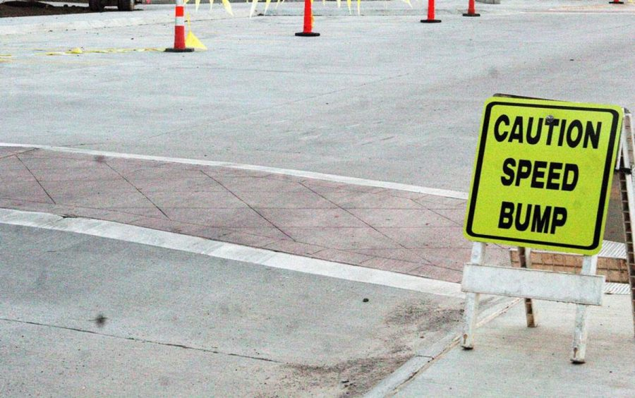 The new speed bump located on Lindahl Drive is causing damage to vehicles and creating scrapes to the newly poured concrete.