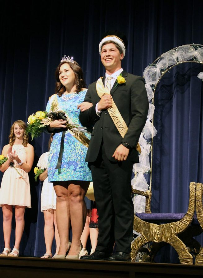 SARAH WARGA AND MATTHEW HENERY were voted Homecoming queen and king last Monday in Ramsey Auditorium out of 10 other candidates.