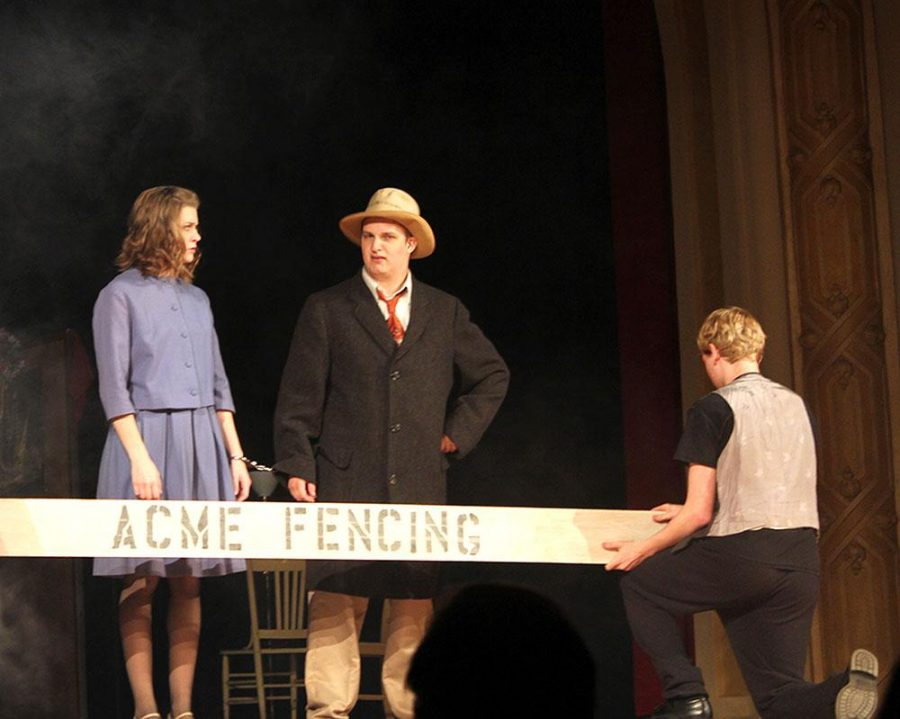 """Hannah Ramsgard, Ben Bruflat and Caleb Green star in """"The 39 Steps,"""" a play based on Alfred Hitchcok's romantic thriller of the same name."""