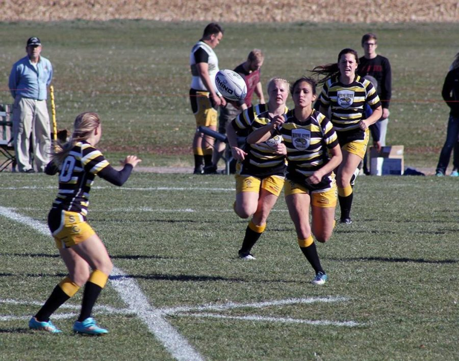 The Women's rugby team go for a try in the Elite Eight tournament on Saturday. The Elite Eight is one of the biggest rugby tournaments for small college club teams.