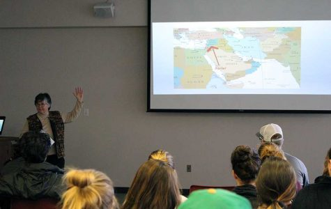 Dr. Susan Ellis discusses issues facing Syria in the Kanter Student Center last Tuesday.