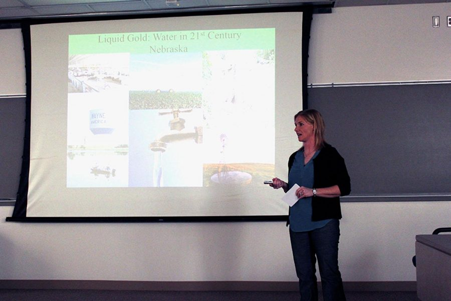 Brandy Held speaks about water located in Nebraska for her presentation during the Honors Colloquium. She concentrated on the resources of groundwater being depleted by the agriculture industry.