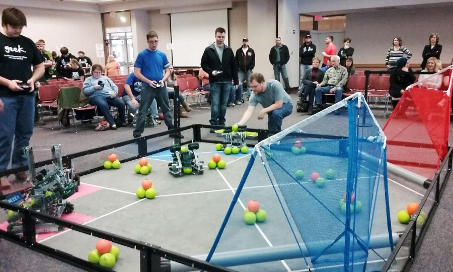 WSC students competed against Northeast Community College students in the college division of the Vex Robotics competition held at Wayne State College on Saturday. Also at this competition there was eight high.