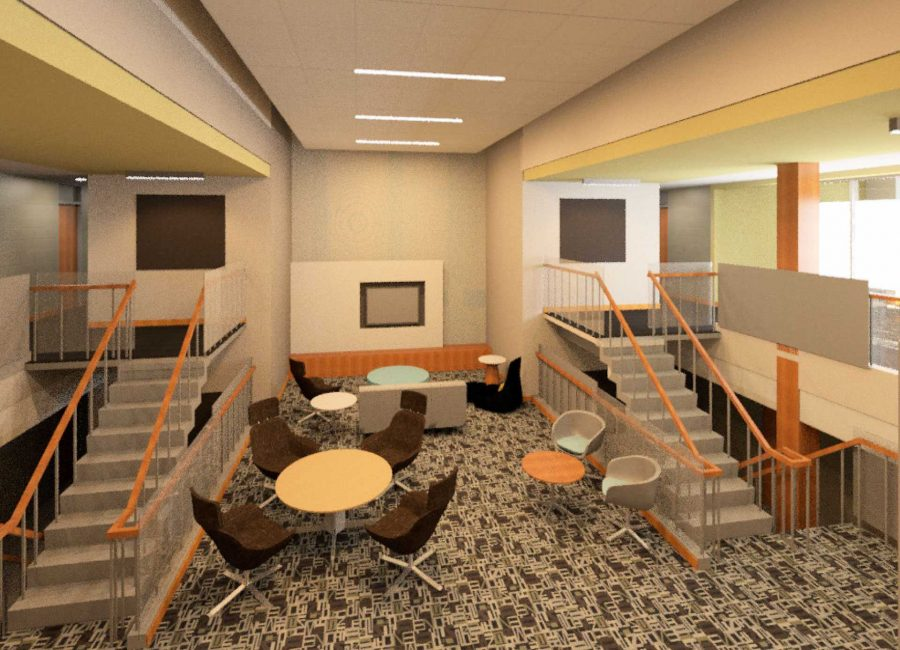 This computer-generatd graphic is a glimpse as to what Bowen Hall will look like after the renovationin the 2016-2017 academic year.