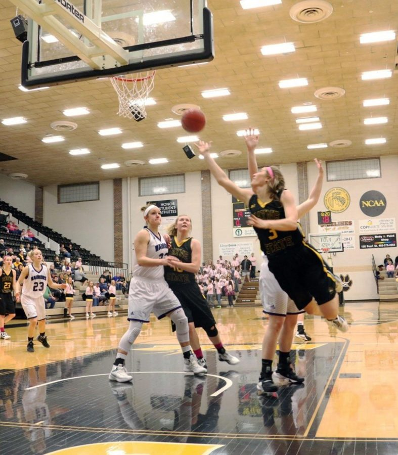 Freshman Anna Martensen shoots a layup against Winona in last weekend's game.