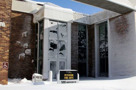 The Peterson Fine Arts buillding was pelted with snow from Winter Storm Selene.