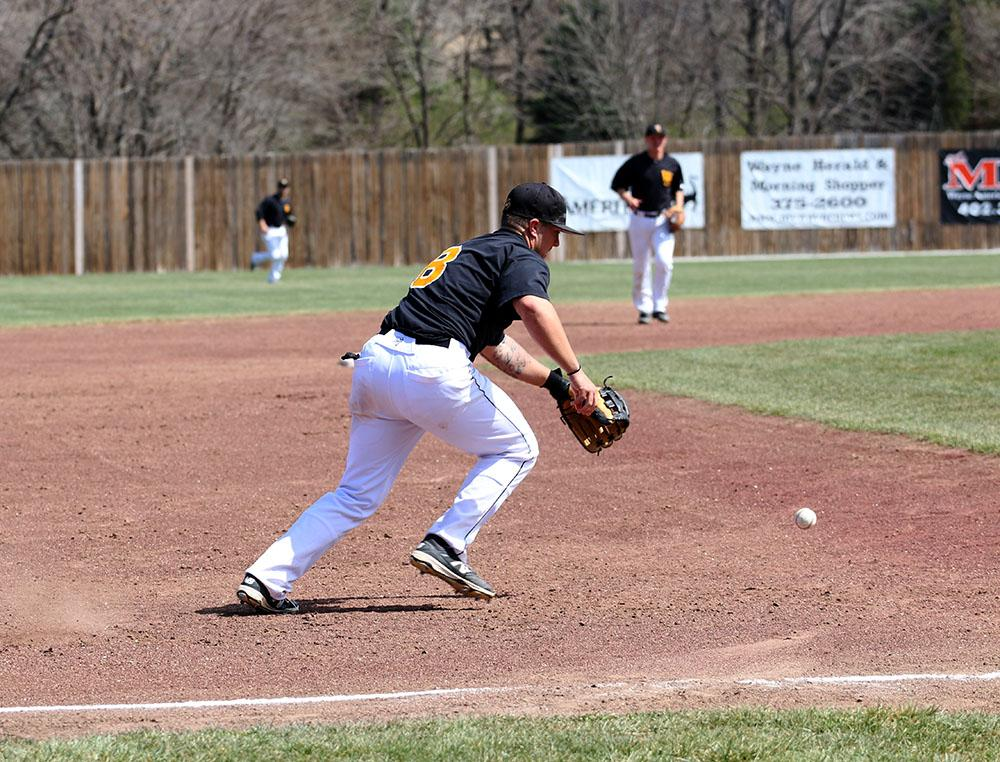 Cody Jenkins fields a ground ball against Winona State.
