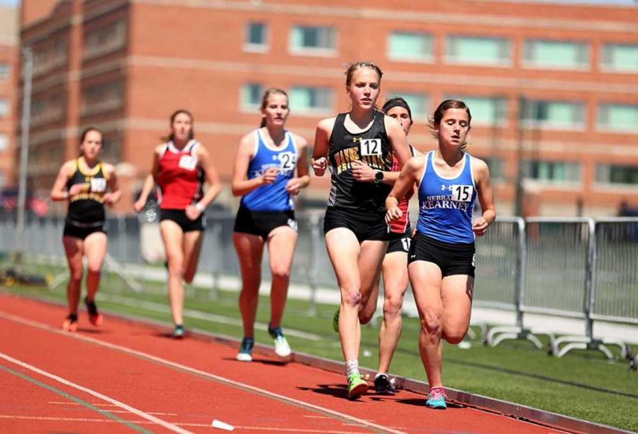 Molly Kingsley races for the finish in a pack of runners during the 5,000 meter run last Friday in the 2016 MIAA/NSIC Showdown meet. The meet was held at Northwest Missouri State in Maryville, Mo.