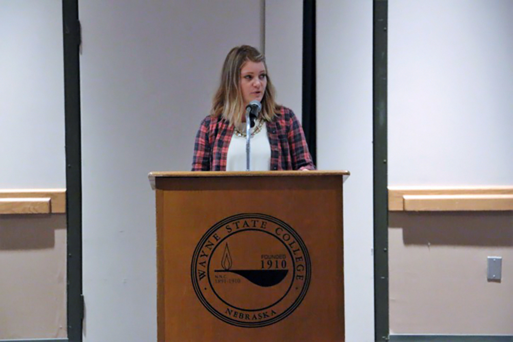 Ainsley Mielke gave a short speech before the movie about how people shouldn't have to hide the fact that things happen to students and it is okay to need someone to talk to for help.