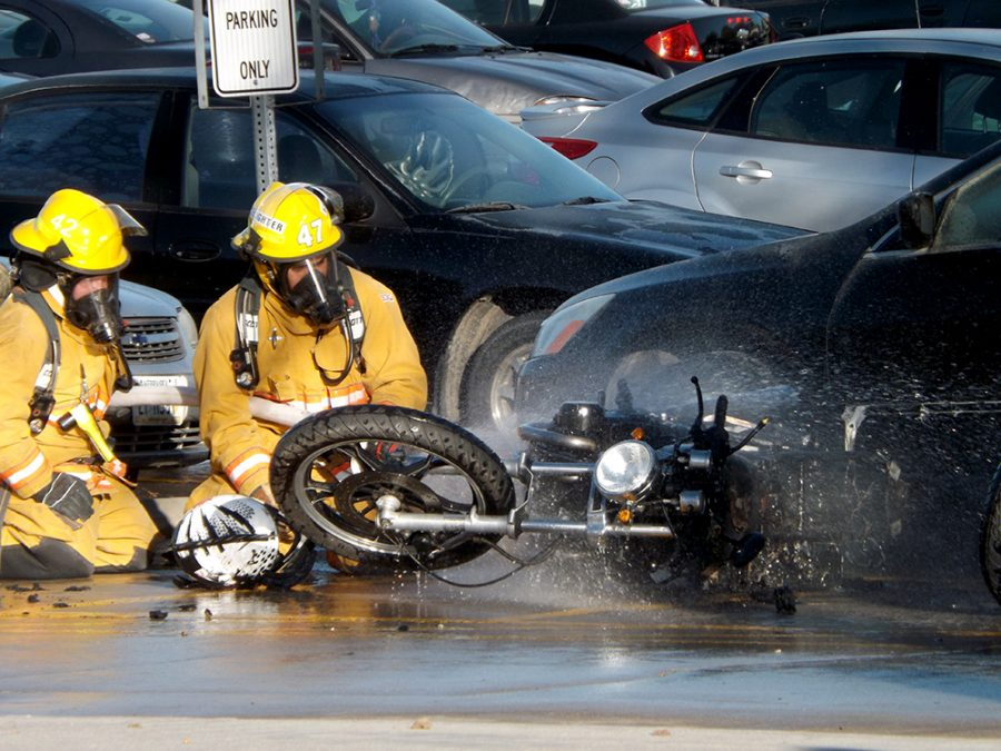 Wayne volunteer fire fighters put out a motorcycle fire that occurred Thrusday afternoon in parking lot 10, while some students were making alterations.