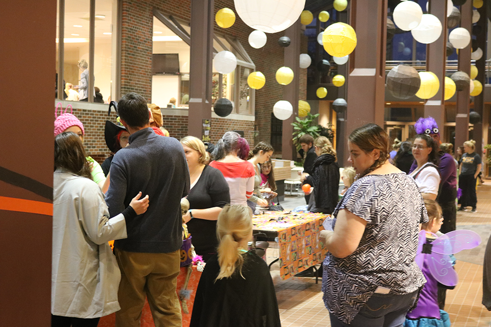 Students and community families made their way into the Kanter Student Center on Halloween night to play games and win various prizes and candies.