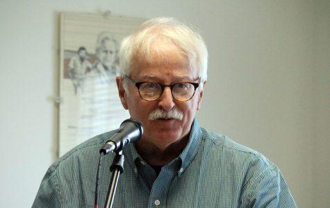 David Wyatt reads in the Humanities lounge.