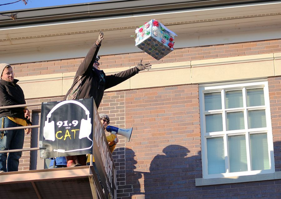 Photo of last year's 21st annual Turkey Drop. Participants dropped turkeys or 'figurative turkeys' (ie: water gallon jugs filled with glitter, pumpkins, parachutes or anything creative) off of the southwest fire escape at Neihardt. 91.9 The Cat hosts the event. They look forward to doing it again  this year tomorrow at 4 p.m.