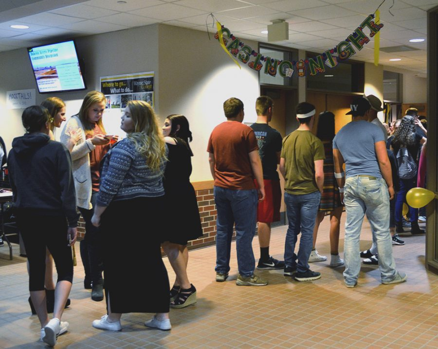 Casino Night took place in Frey Conferencer Suite on Feb. 21. The event gave students the chance to win prizes that ranged from gift cards to an Xbox One. A mechanical bull was a popular attraction, with over 90 students riding.
