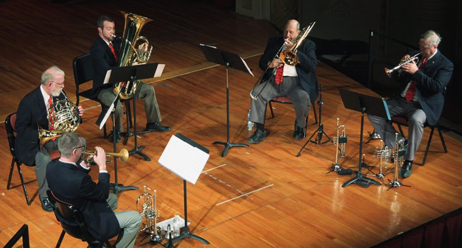 David Bohnert, Gary Reeves, Josh Calkin, Randy Newharth and Keith Krueger performed a Touch of Brass last Sunday in Ley Theatre.
