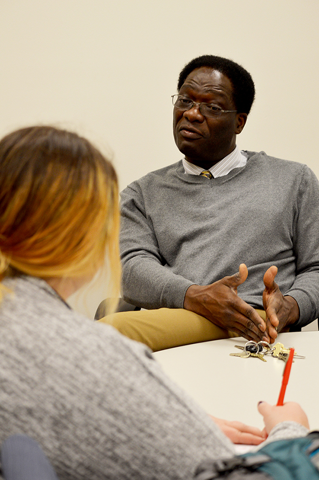Stater reporter Emmalee Scheibe speaks with Professor Darius Agoumba about three WSC students from three different countries in Africa.