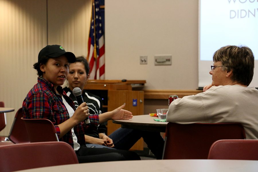 WSC student Christina Coffman gives input about the Dakota Access Pipeling at a discussion about the controversial pipeline which students, faculty and the Wayne community were invited to by the Native American Student Alliance last Wednesday.