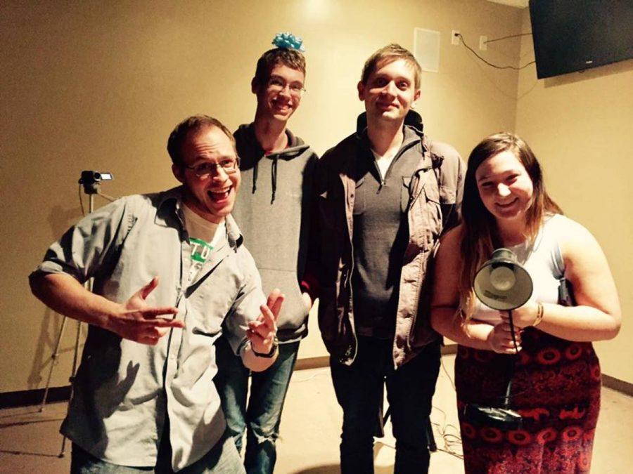 The winners of the 37th Poetry Slam, left to right: Derek Pufahl, Andrew Clegg, Jared Shultz and Stephanie Hempel.