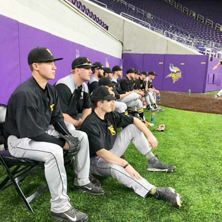 The WSC baseball bull pin watches a game during the team's trip to Minneapolis to play in the U.S. Bank Stadium.