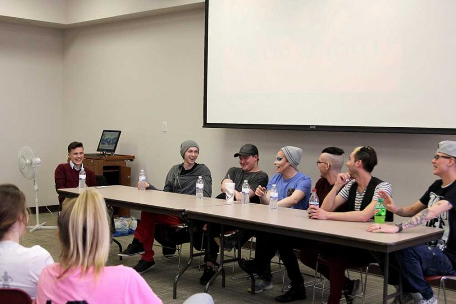 Caleb Hayden, Veronica Kennedy, Anastacia Shakers, Kahtya Tension, Avii Quinn, Autumn Quinn and Alex le Damage. The queens and king sat down to answer questions people have about drag as well as tell their own experiences with drag.