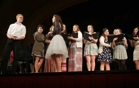 Trevor McQuay and Mary Bruegman share the stage with other chorus members at the Gilbert and Sullivan showcase, last Thursday in Ley Theatre.