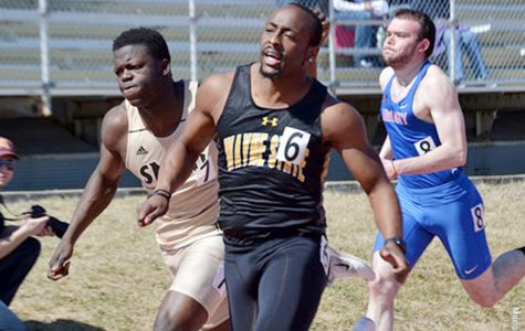 Braxton Adams sprints toward his first place finish in the 100-meter dash. Adams was also part of the first place 4x100-meter relay  team at the SMSU Open in Marshall, Minn.