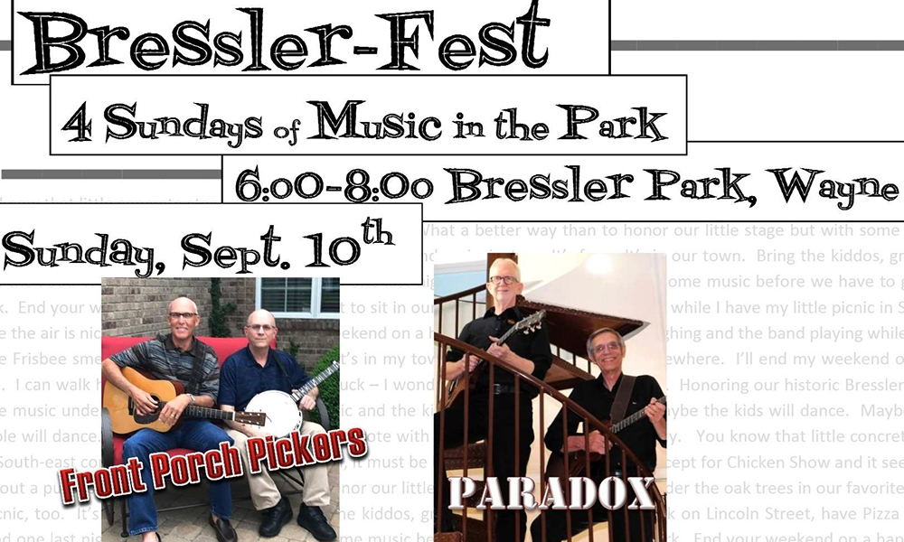 Bressler Park will be rockin' and rollin' the next few weekends. Bands will perform at the Bressler Park which is located between Lincoln Street and Douglas Street and between 9th and 10th streets. Come enjoy some great music and hang out with the community. Bressler-Fest begins Sunday at 6 p.m. wiht the Front Porch Pickers. This band includes Alan Broflat and Jim Lindau. Later, Paradox, a band consisting of Paul Karr and Tim Sharer, will perform.
