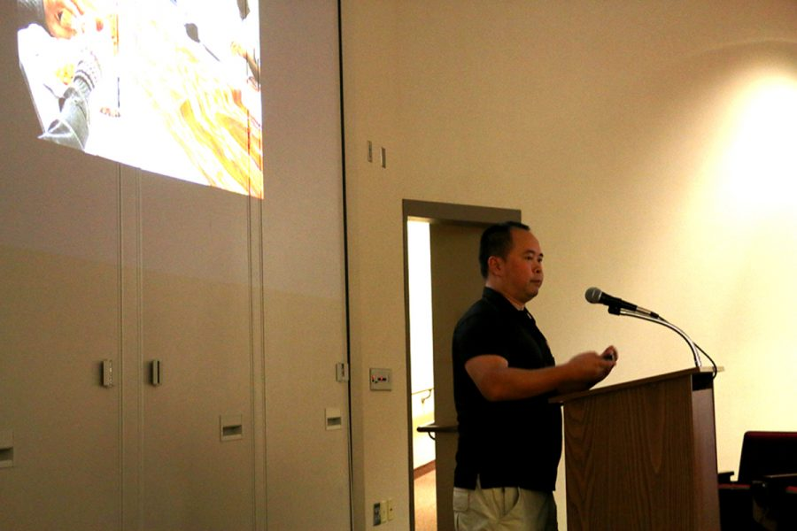 Jave Yoshimoto talked to students and faculty about his work. He is part of the Tulsa Art Fellowship and is the coordinator of foundations at UNO.