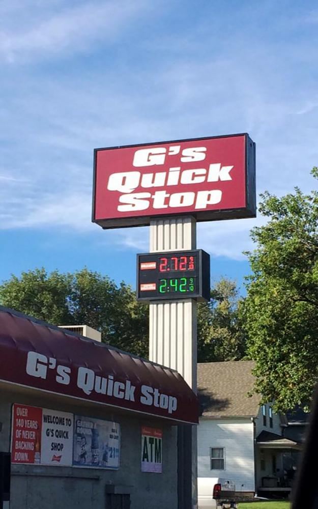 G's Quick Stop in Wayne, located across the street from Wayne State College, has been affected by the rise in gas prices.