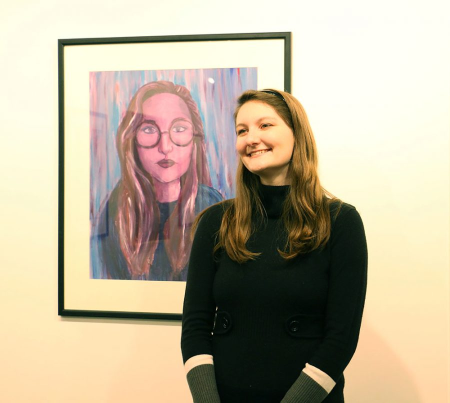 Hope Pederson has her art displayed in the Nordstrand Visual Arts Gallery inside the Conn Library.