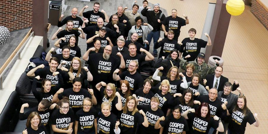 Wayne+State+College+students%2C+staff+and+faculty+team+up+to+show+support+for+Dr.+Andria+Cooper%2C+who+is+currently+battling+cancer.+The+WSC+community+has+showed+great+support%2C+raising+more+than+%241%2C000+to+help+her+while+she+is+unable+to+work.+On+Friday%2C+the+WSC+community+came+together+to+show+that+the+campus+is+behind+Cooper.