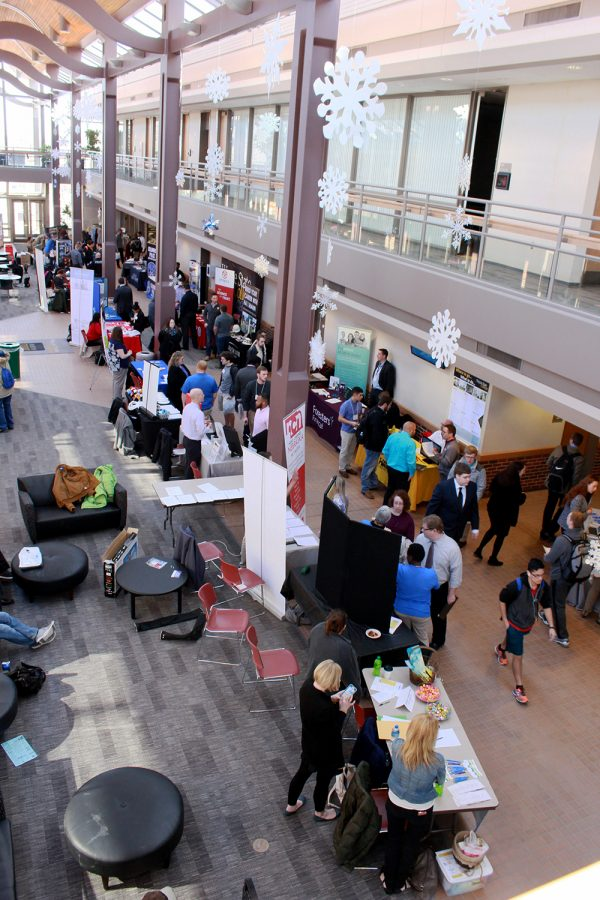 The career fair is usually held inside the Kanter Student Center, but will be held virtually this fall.