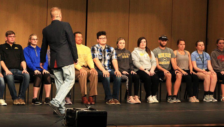 Hypnotist Freddie Justice put WSC students in a trance