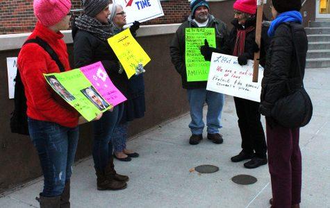 Political rally occurs near Conn Library