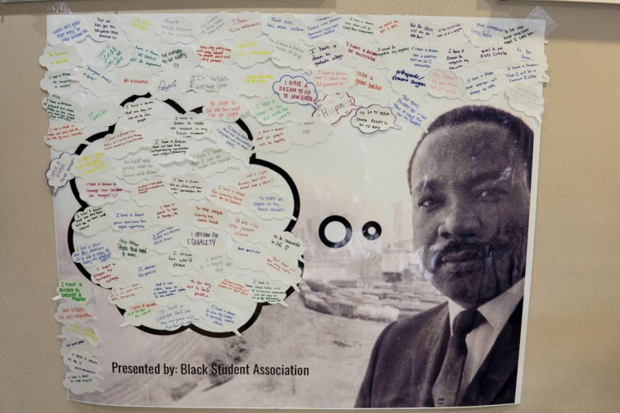 On Martin Luther King Day, WSC students were invited to write down their dreams on an MLK poster.